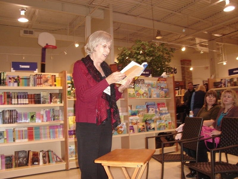 Angeline Fast-Vlaar reading from one of her books in the second reading area