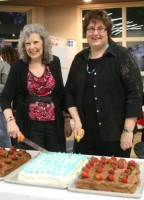 Editors N. J. Lindquist (left) and Wendy Nelles at the official launch of A Second Cup of Hot Apple Cider, at Write! Canada 2011